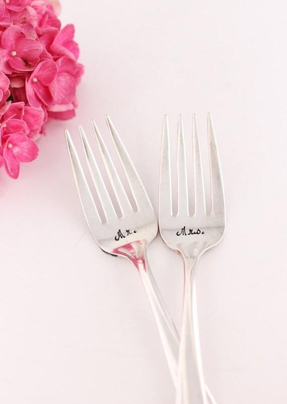 Hand Stamped Mr. Mrs. Cake Forks 1957 Exquisite. Wedding Forks Cottage Chic