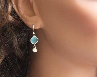 Blue Glass Earrings, Simple Earrings, Fresh Water Pearl Earrings, Dangle Earrings, Silver Tone Earrings