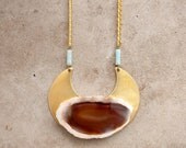 Geo Pendant - Agate Slice & Brass with Amazonite and Vintage Chain