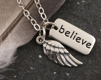 Angel Wing Necklace Believe - Inspirational Sterling Silver Faith