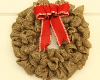 Petite Bethlehem Burlap  Wreath, Front Door  Wreath,  Rustic wreath