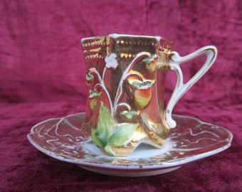Ornate Gold Alpine Strawberry Vintage Demitasse Cup and Saucer Set