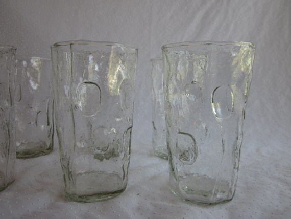 8 Decatur Thumbprint Crinkle Glass Tumblers - Huge Lot of 8 Clear