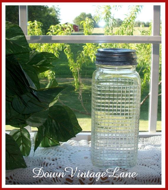 Antique Clear Honeycomb Jar Quart Size