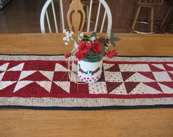 Americana Red White and Blue Quilted Table Runner