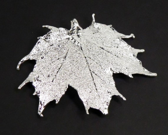 Real Maple Leaf Pendant Silver Dipped