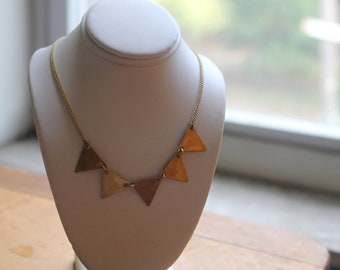 Small Brass Triangle Bunting Necklace....Geometric Collar, Simple Chic, Modern Vintage