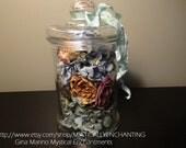 SALE Dried Hydrangeas and flowers Glass Apothecary Jar