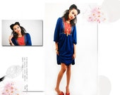 vintage blue and red floral peasant pilgrim dress
