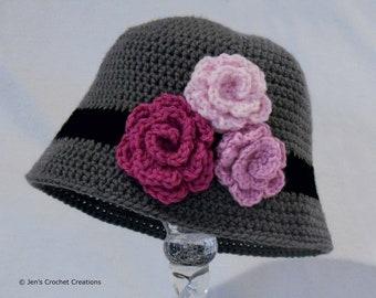 Crochet Little Girl Cloche Hat with Flower Embellishments