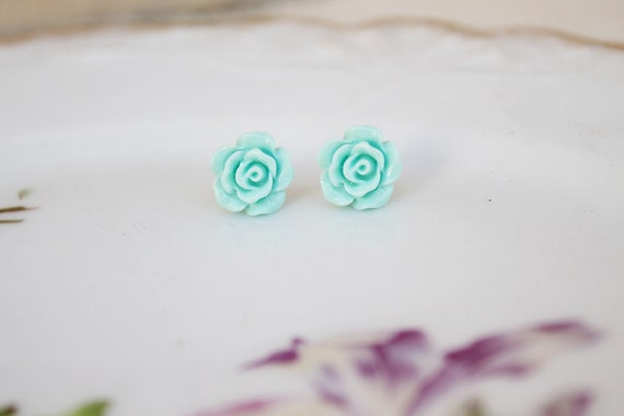 Full Bloom Pool Blue Rosebud Studs
