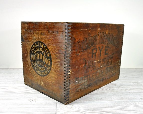 Vintage Whiskey Shipping Crate / Wood Crate / Wooden Box / Industrial Decor