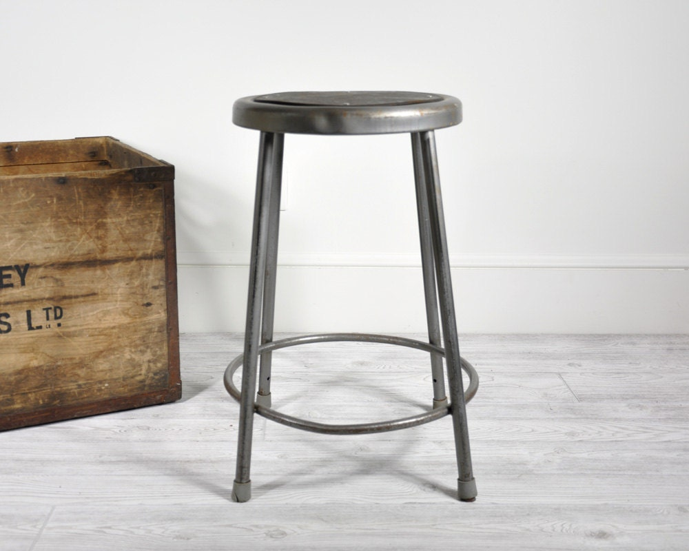 vintage industrial metal shop stool industrial decor