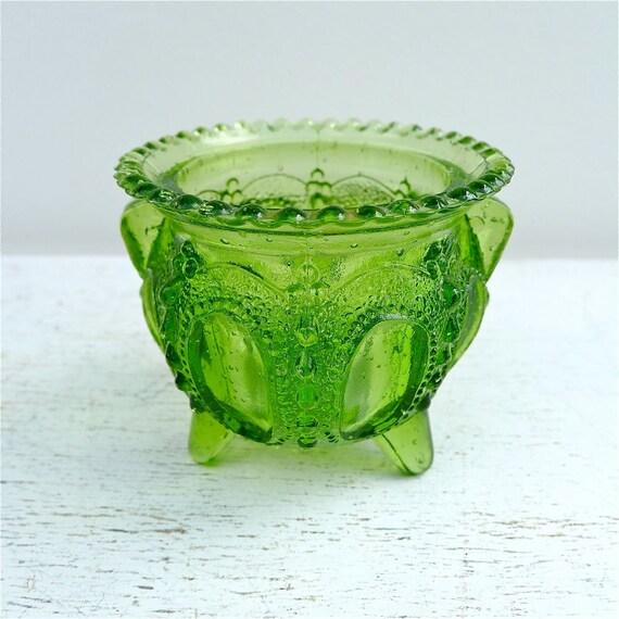 Vintage Toothpick Holder Green Ornate Glass