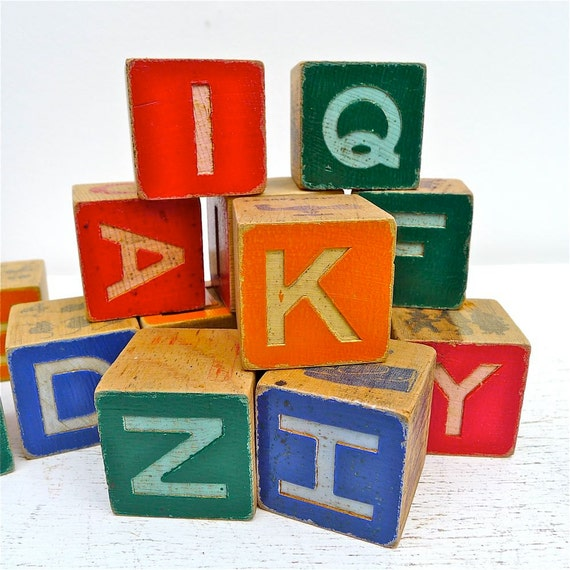 Vintage Child's Wood Alphabet Block Collection of 18