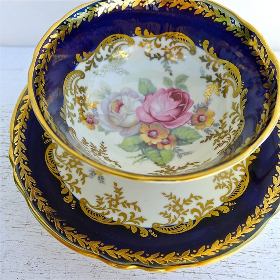 Vintage Paragon Double Warrant Floral Spray and Navy Blue Tea Cup and Saucer