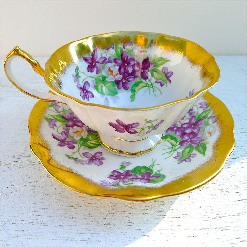 vintage princess anne violets tea cup and saucer. Black Bedroom Furniture Sets. Home Design Ideas