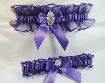 RHINESTONE Wedding garters Purple Garter set
