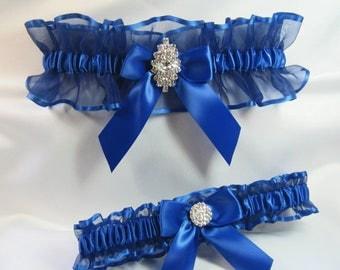 RHINESTONE Wedding garters Royal Blue Garter set