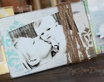 4x6 or 5x7 Photo block holder painted damask with jute to hold photo