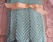 Beautiful Pale Green Crocheted Toddler or Baby Blanket for home, car or stroller.