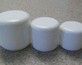 Set of two each White Plastic Jars: 4 ounce, 2 ounce, 1 ounce