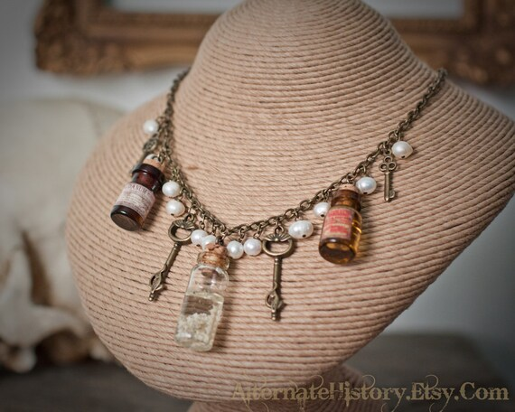 Victorian Apothecary Necklace - Poisons and Spines in Bottles with Keys and Pearls