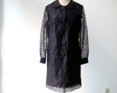vintage 60's mod, black/burgundy sheer delicate lace dress.