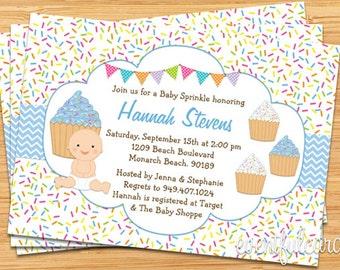Cupcake Baby Sprinkle Shower Invitation Blue Baby Boy