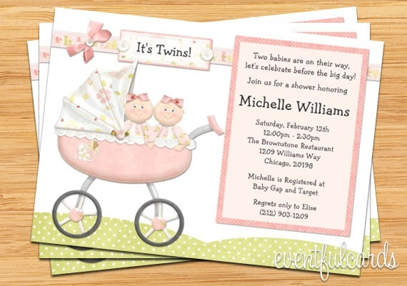 twin girls baby shower invitation,
