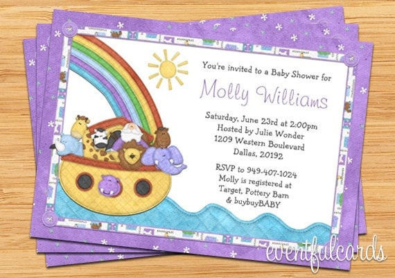 noah 39 s ark baby shower invitation