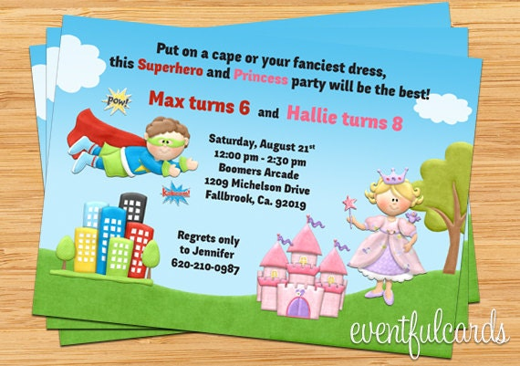 Printable Joint Birthday Party Invitations ~ Kids superhero and princess joint birthday party invitation digital printable by