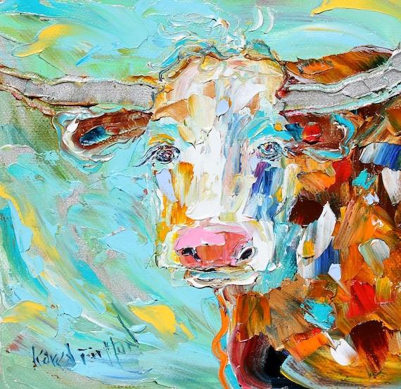 Original Texas Longhorn palette knife painting oil impasto on canvas impressionism fine art by Karen Tarlton