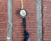 Sailor's Girl Nautical Necklace Made From Gold Chain, An Anchor Button And A Blue Fabric Tassel