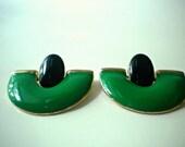 Vintage Green and Black Earrings Pierced