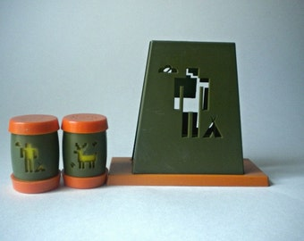 Vintage St. Labre Indian School S&P Shakers with Napkin Holder