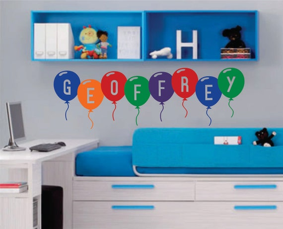 Balloon Name, Vinyl Wall Lettering, Vinyl Wall Decals, Vinyl Letters, Vinyl Lettering, Wall Quotes, Nursery Decal, Playroom Decal, Kids Room