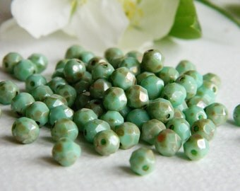 Czech Glass Beads Fire Polished Faceted Round  5mm Opaque Green Turquoise Light Metallic Silver Picasso (40pcs) NEW