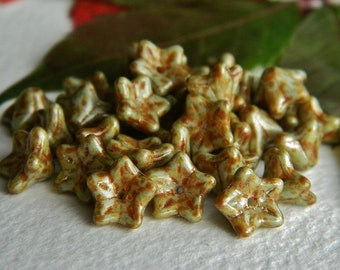 FLOWER Czech beads Glass 5-petal Trumpet Flower Small 6X9mm Light Metallic Olive & Terracotta  Picasso Lustered  (12pcs) NEW