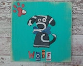 License Plate Artwork Black Dog Puppy Animal Red Bone Paw Turquoise Teal Blue Personalized Name Boy Car Custom Nursery Art Recycled States