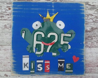 License Plate Artwork Frog Prince Crown Kiss Me Green Bright Blue Personalized Name Girl Car Custom License Plate Art Recycled States