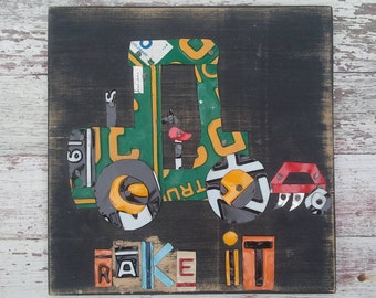 License Plate Art - Farm Back Hoe Backhoe Rake It Tractor - Recycled Art Company - Nursery Transportation Boys Room - Wood -  Artwork