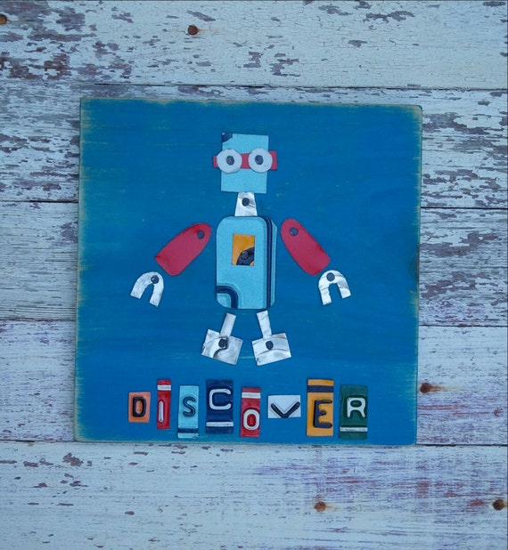 Alien Space Robot - Discover-  Boys Room Nursery Travel Adventure - Recycled License Plate Art - Upcycled Artwork