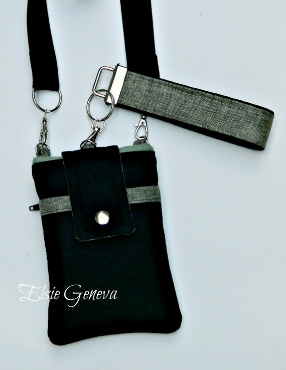 Choose Any Fabric in My Shop or Black and Olive Green / Sage Phone Case Satchel with Wristlet, Back Zipper Pocket