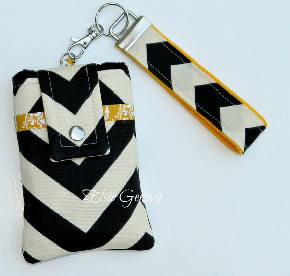 Brown French Roast Chevron and Yellow Honey Gold or Pink Damask  Phone Case with Wristlet & Back Zipper Pocket