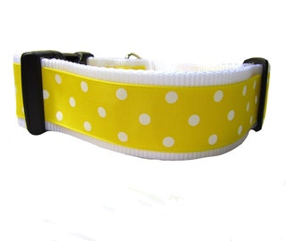Yellow Spot  2 inch wide, buckle or martingale, yellow, white, giant breed, polka dot
