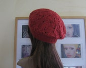 Hand Knit in France - Orange / Red / Brown Tam - 100% merino wool hand dyed - lace knit - gift under 50
