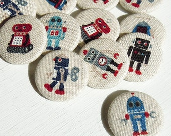 4 Robot Fabric Covered Pin Badges