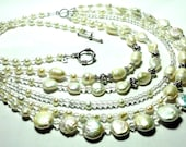 5 Strand Pearl Necklace Genuine Freshwater Baroque and Coin Pearls Designer Bib Statement Wedding Necklace with Sterling