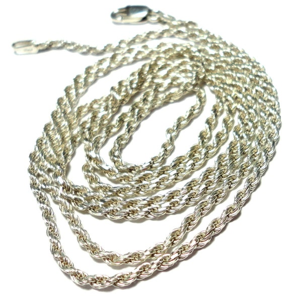 VIntage Solid Sterling Silver 30 Inch Rope Chain Diamond Cut 2.25mm Italian Made